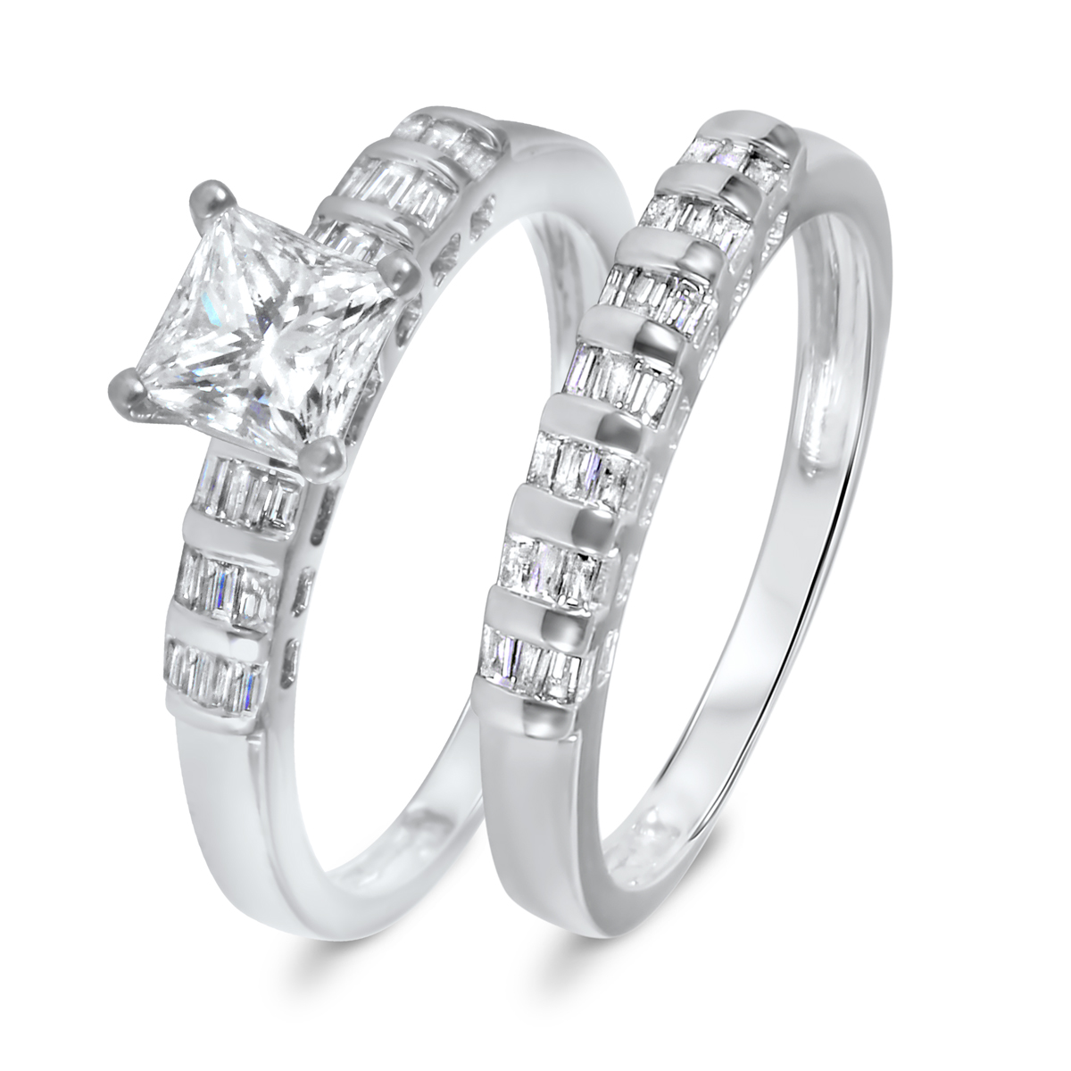 1 1/2 CT. T.W. Diamond Women's Bridal Wedding Ring Set 10K White Gold