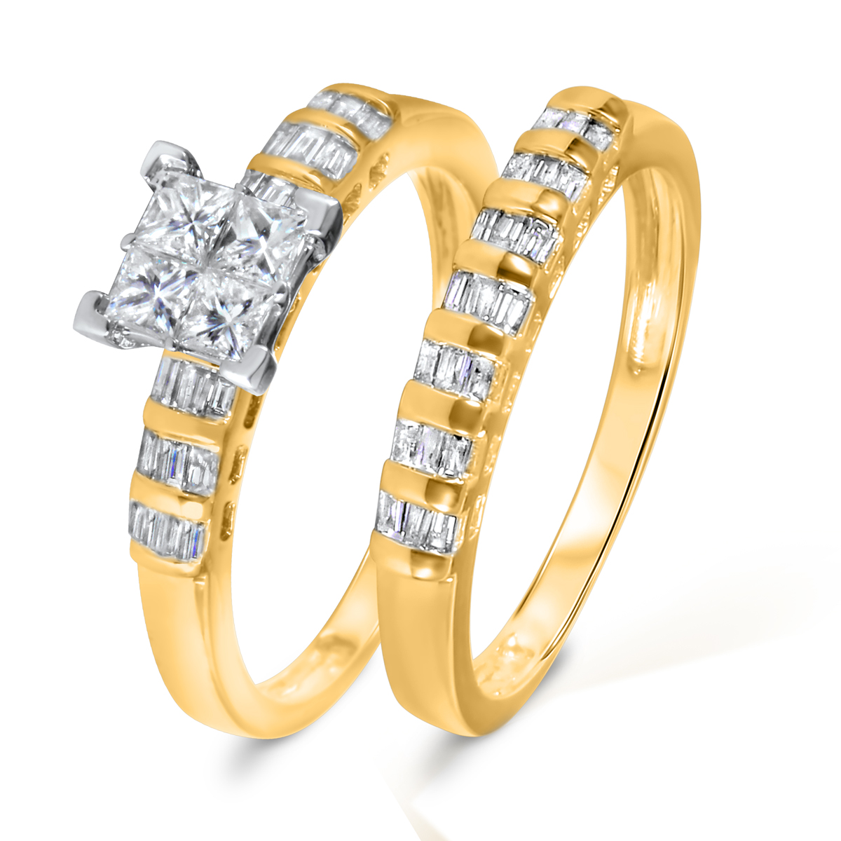 1 CT. T.W. Diamond Women's Bridal Wedding Ring Set 10K Yellow Gold