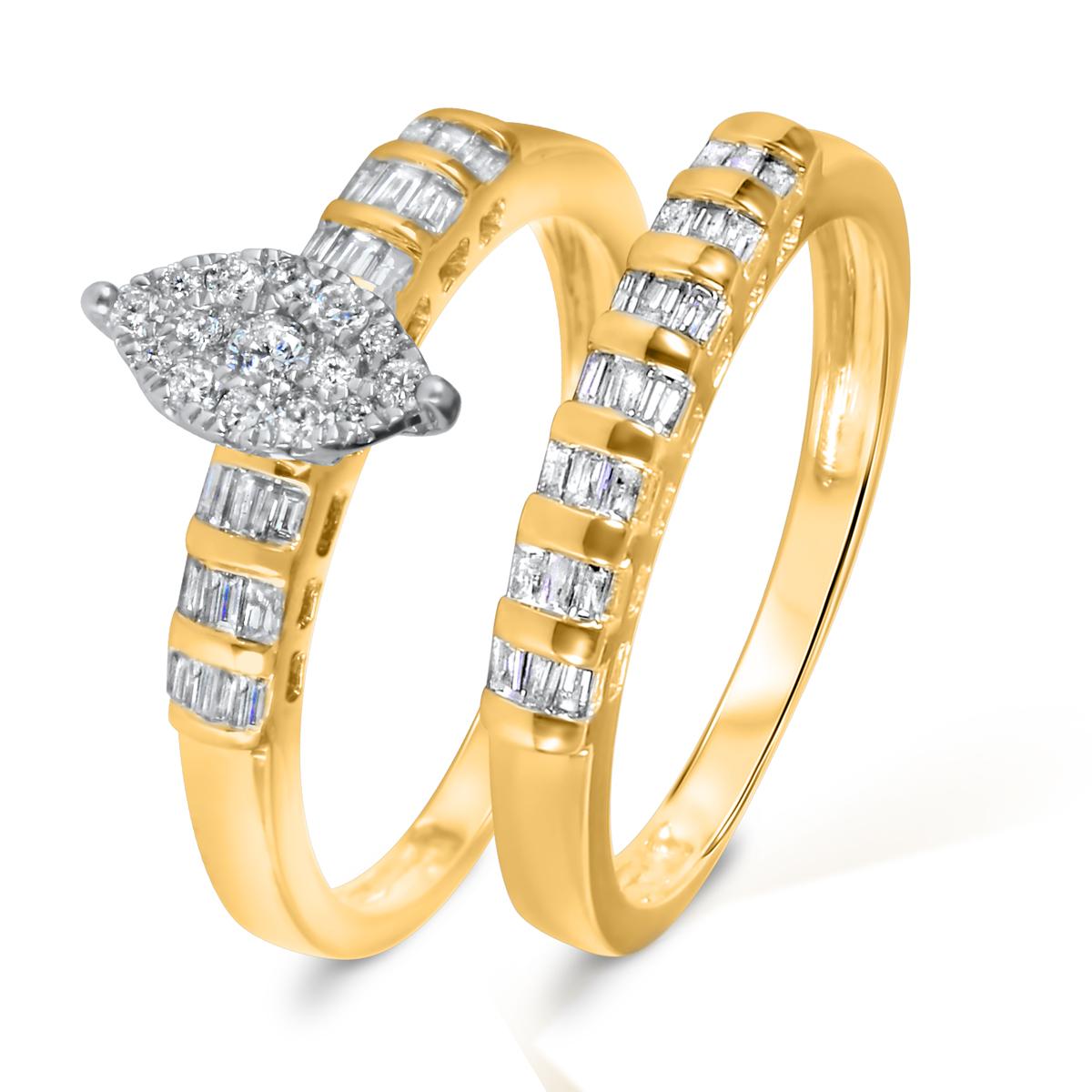 2/3 CT. T.W. Diamond Women's Bridal Wedding Ring Set 14K Yellow Gold