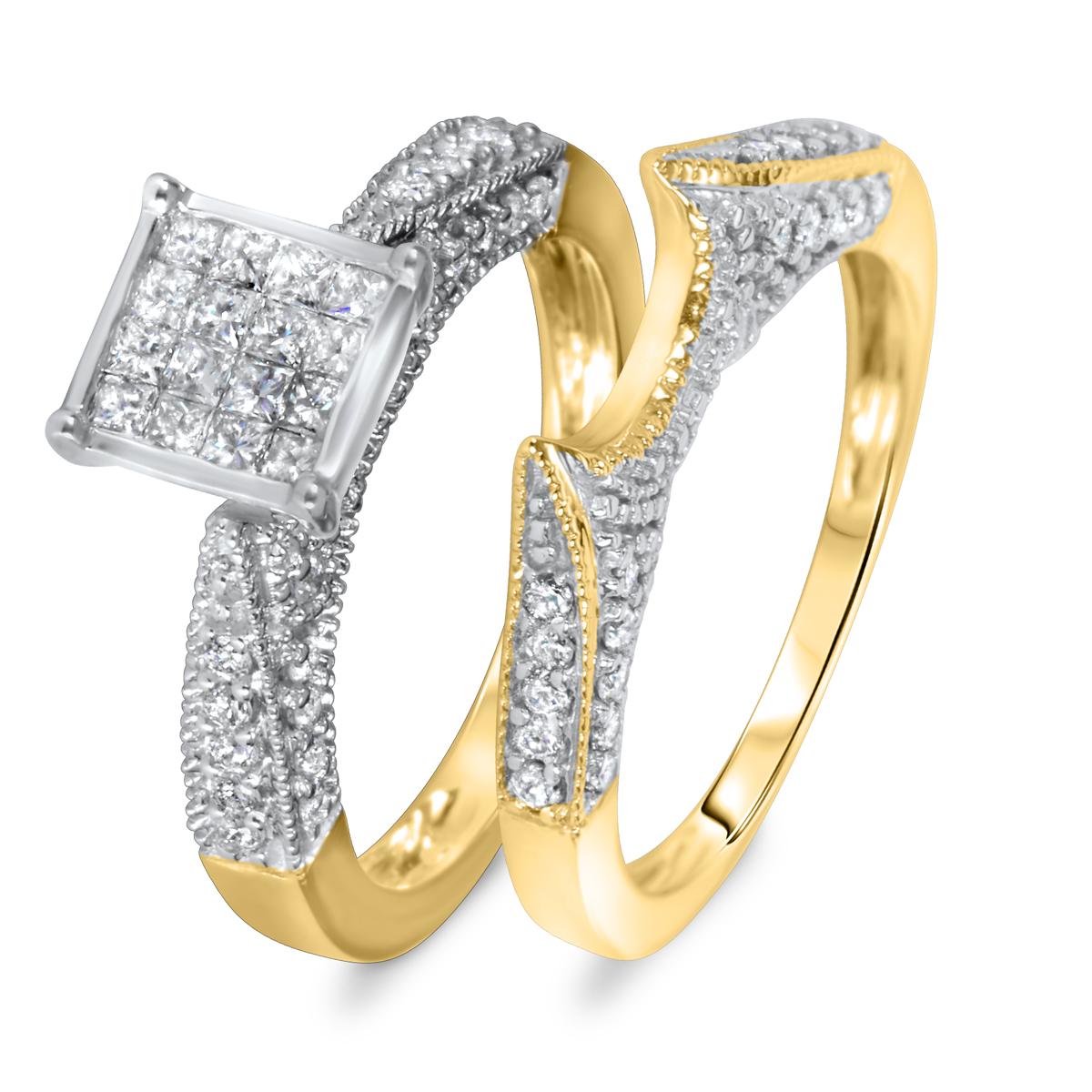 1 CT. T.W. Diamond Women's Bridal Wedding Ring Set 14K Yellow Gold