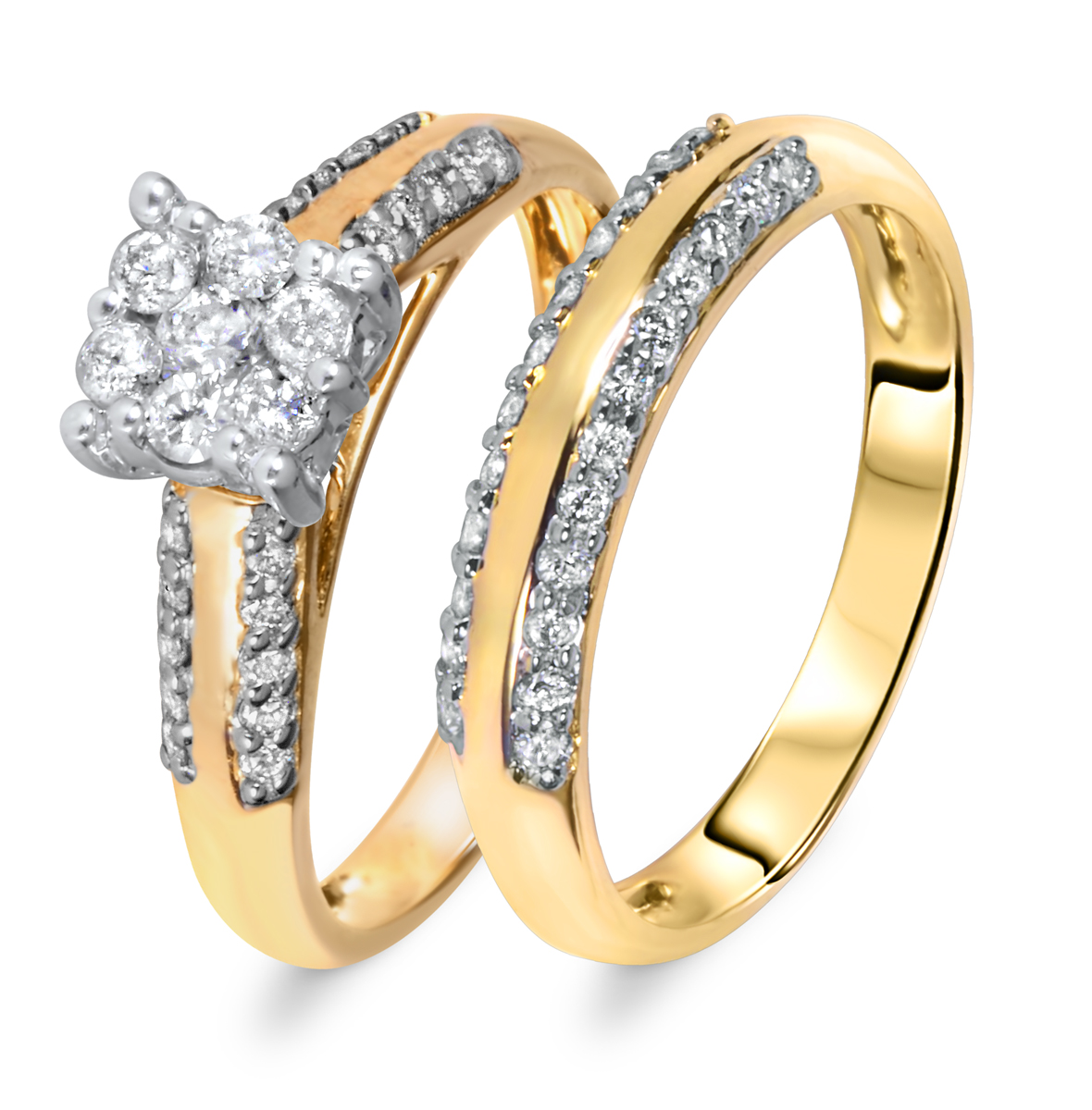 2/3 CT. T.W. Diamond Women's Bridal Wedding Ring Set 14K Yellow Gold
