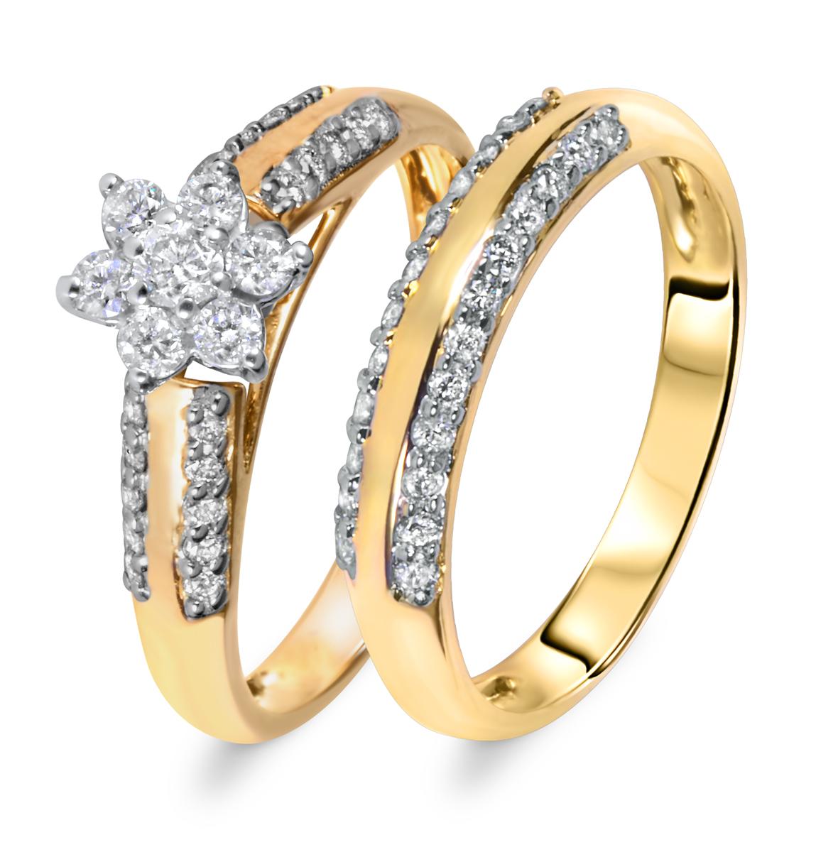 3/4 CT. T.W. Diamond Women's Bridal Wedding Ring Set 14K Yellow Gold