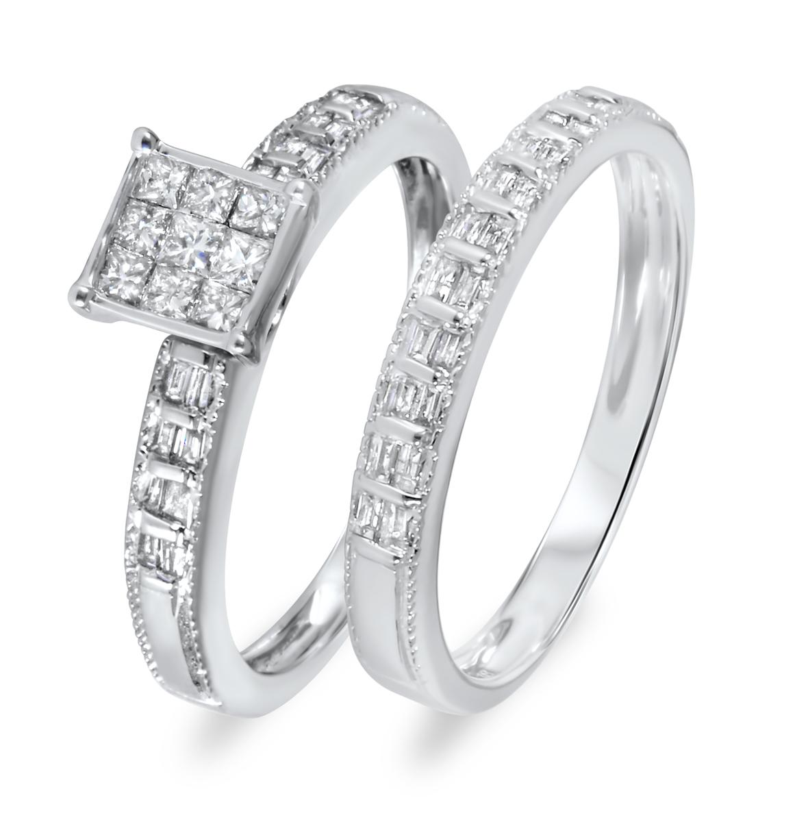 2/3 CT. T.W. Diamond Women's Bridal Wedding Ring Set 10K White Gold