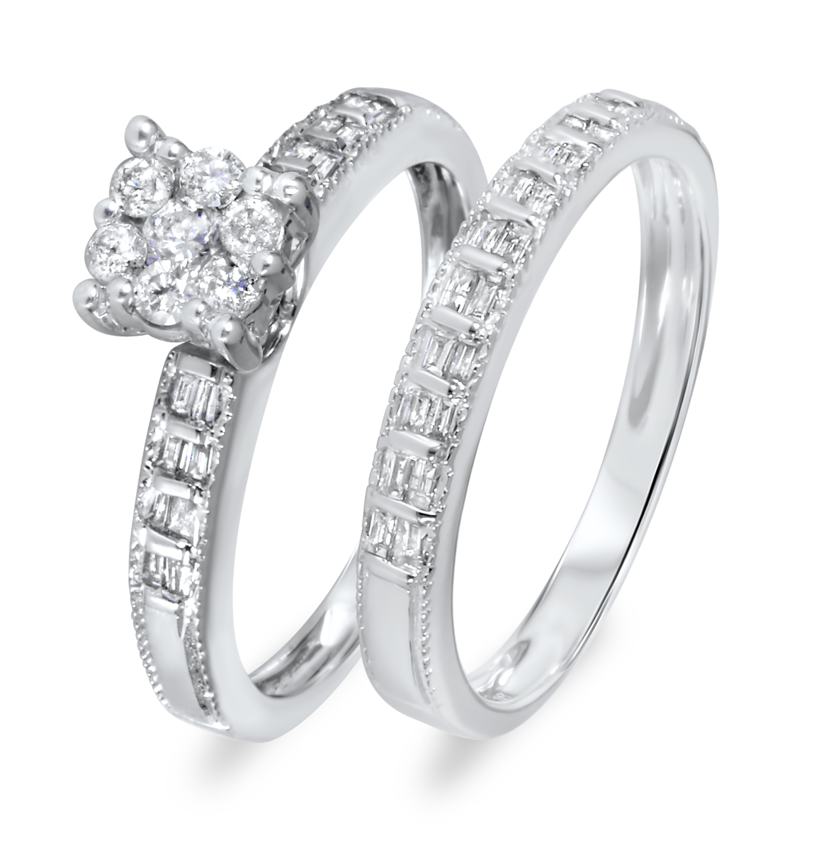 1/2 CT. T.W. Diamond Women's Bridal Wedding Ring Set 14K White Gold