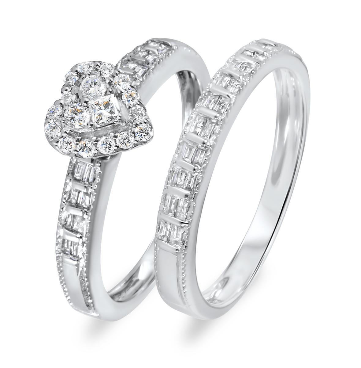 5/8 CT. T.W. Diamond Women's Bridal Wedding Ring Set 14K White Gold