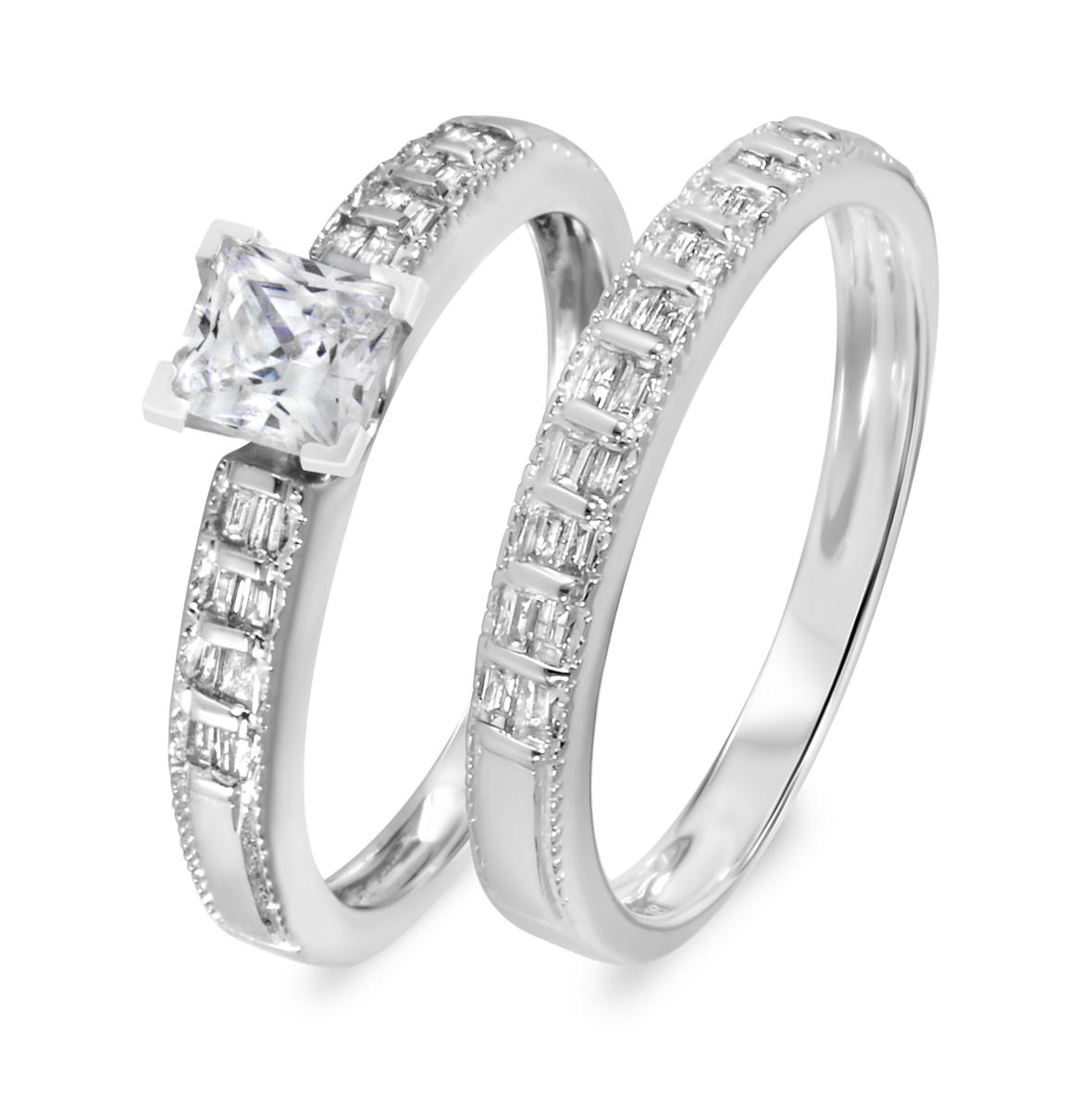 1 1/10 CT. T.W. Diamond Women's Bridal Wedding Ring Set 14K White Gold