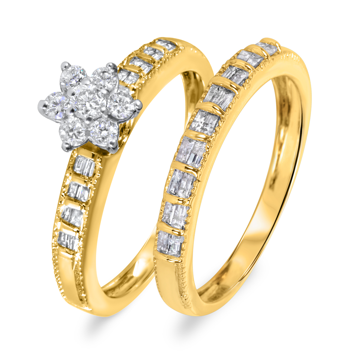 5/8 CT. T.W. Diamond Women's Bridal Wedding Ring Set 14K Yellow Gold
