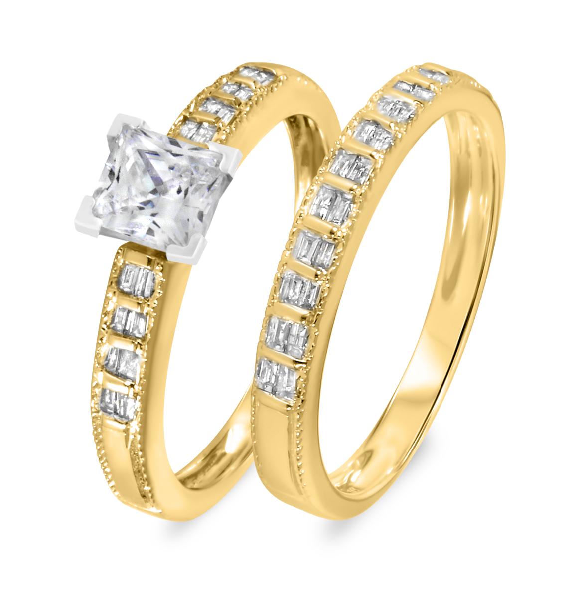 1 1/3 CT. T.W. Diamond Women's Bridal Wedding Ring Set 10K Yellow Gold