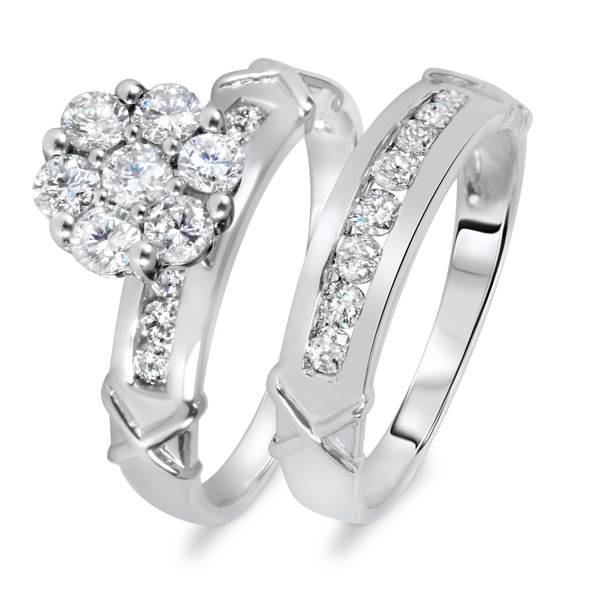 1 1/8 CT. T.W. Diamond Women's Bridal Wedding Ring Set 14K White Gold