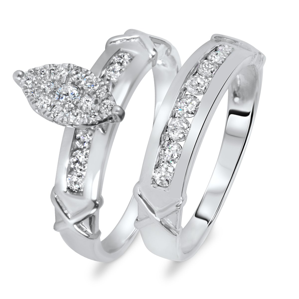 2/3 CT. T.W. Diamond Women's Bridal Wedding Ring Set 10K White Gold