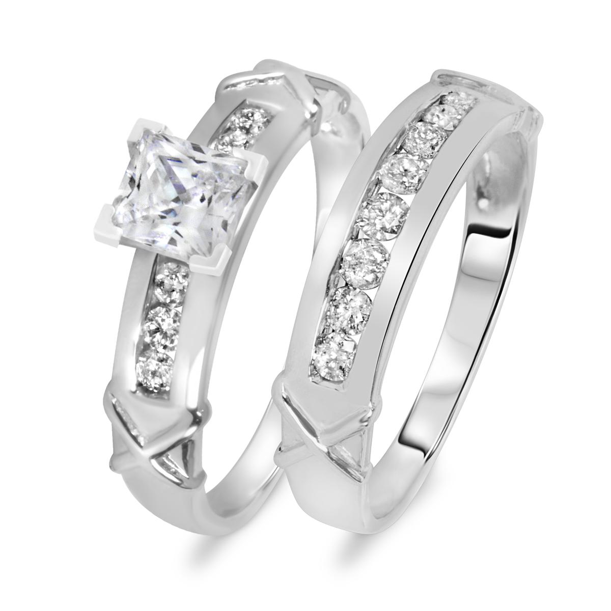 1 1/5 CT. T.W. Diamond Women's Bridal Wedding Ring Set 14K White Gold