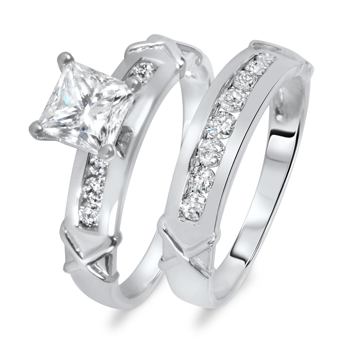 1 1/2 CT. T.W. Diamond Women's Bridal Wedding Ring Set 14K White Gold