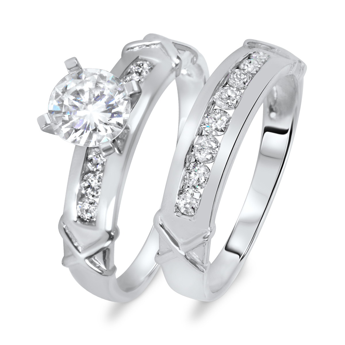 1 1/5 CT. T.W. Diamond Women's Bridal Wedding Ring Set 10K White Gold
