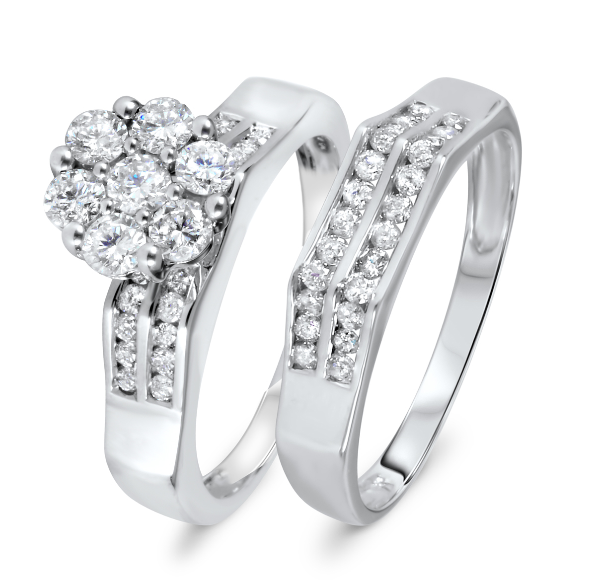 1 1/8 CT. T.W. Diamond Women's Bridal Wedding Ring Set 10K White Gold