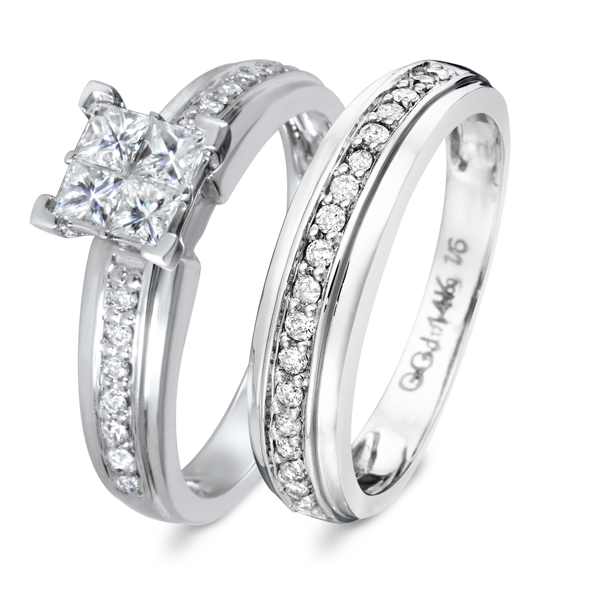 7/8 CT. T.W. Diamond Women's Bridal Wedding Ring Set 10K White Gold