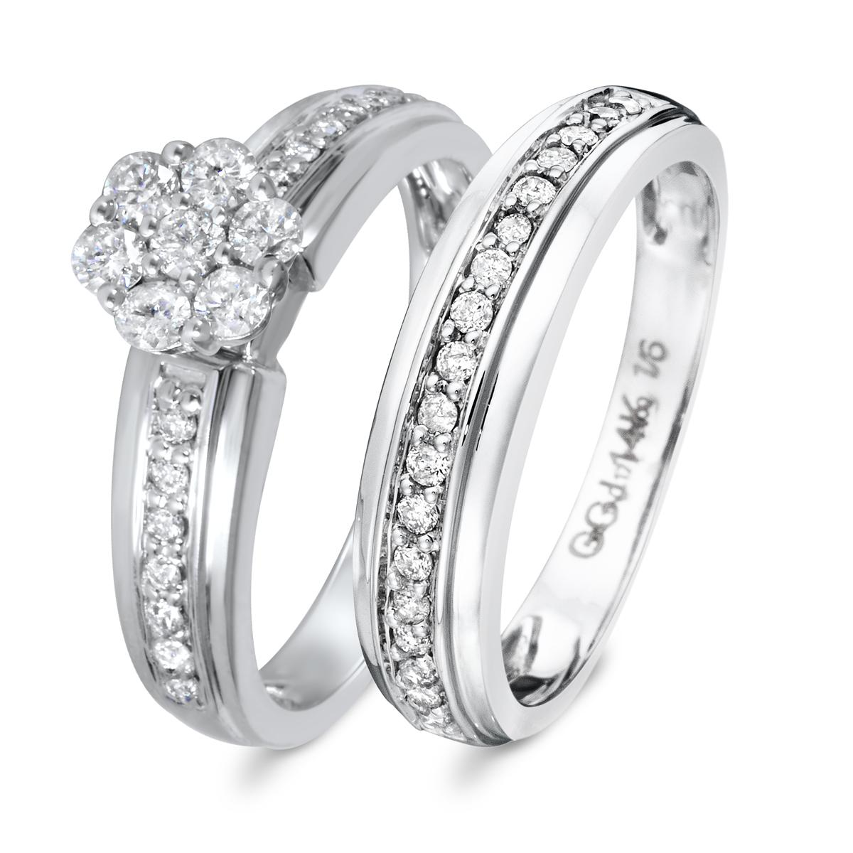 2/3 CT. T.W. Diamond Women's Bridal Wedding Ring Set 14K White Gold