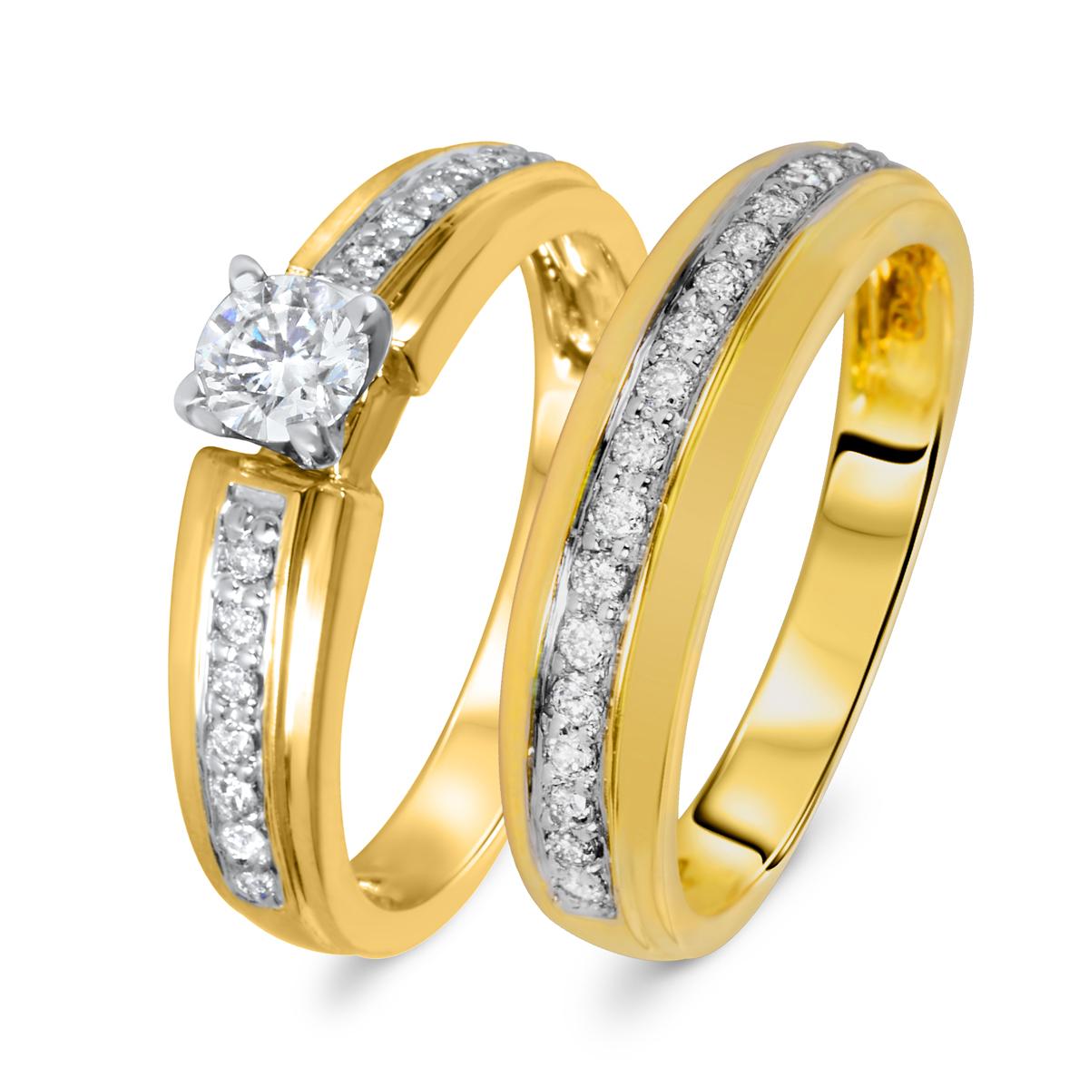 5/8 CT. T.W. Diamond Women's Bridal Wedding Ring Set 10K Yellow Gold