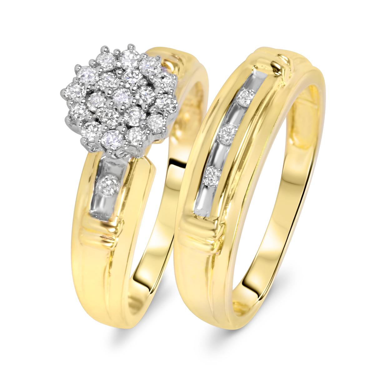 3/8 Carat T.W. Round Cut Diamond Ladies Bridal Wedding Ring Set 10K Yellow Gold