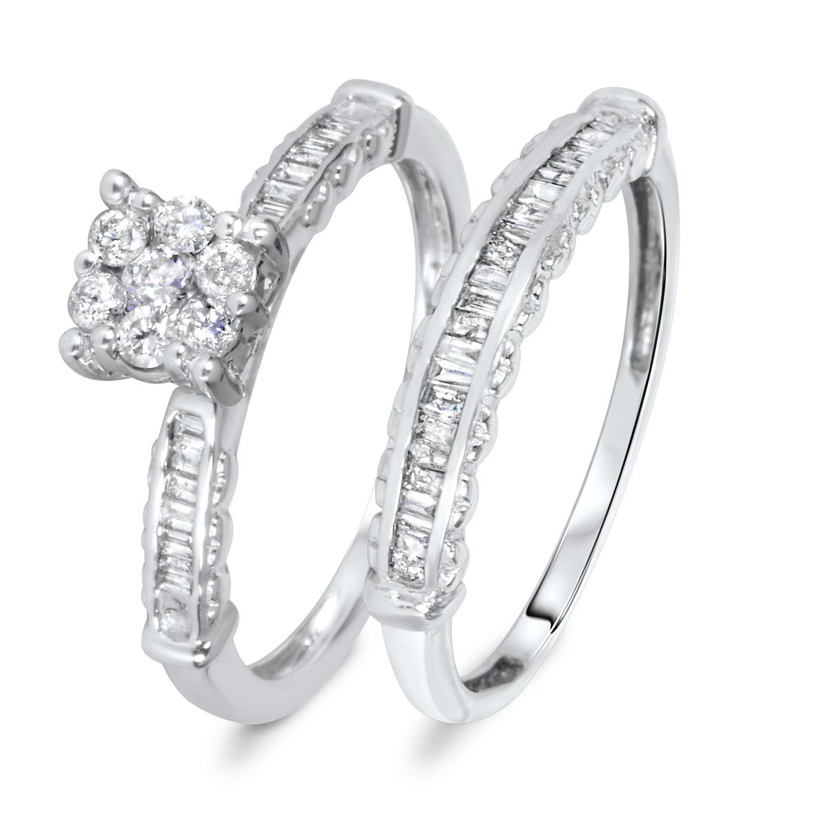 5/8 CT. T.W. Diamond Women's Bridal Wedding Ring Set 10K White Gold