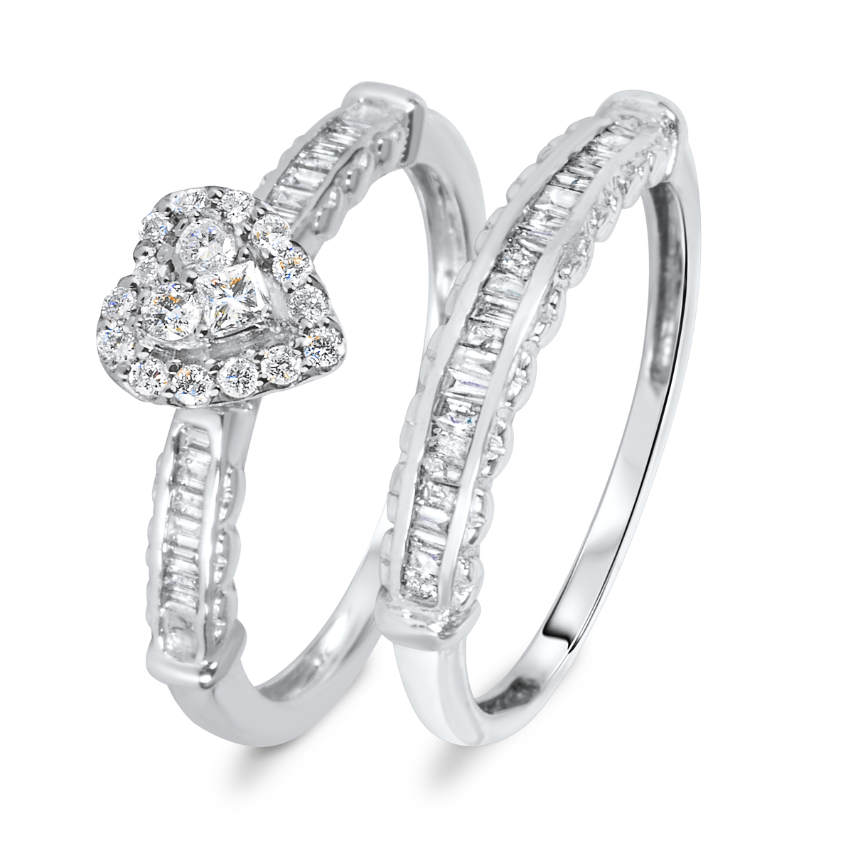2/3 CT. T.W. Diamond Women's Bridal Wedding Ring Set 14K White Gold