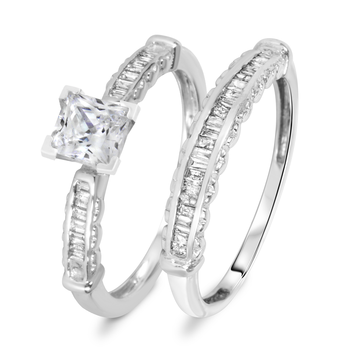 1 3/8 CT. T.W. Diamond Women's Bridal Wedding Ring Set 10K White Gold