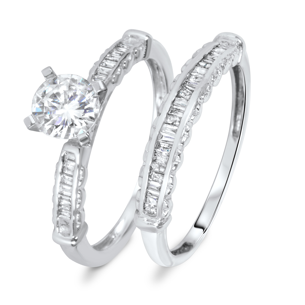 1 1/7 CT. T.W. Diamond Women's Bridal Wedding Ring Set 10K White Gold