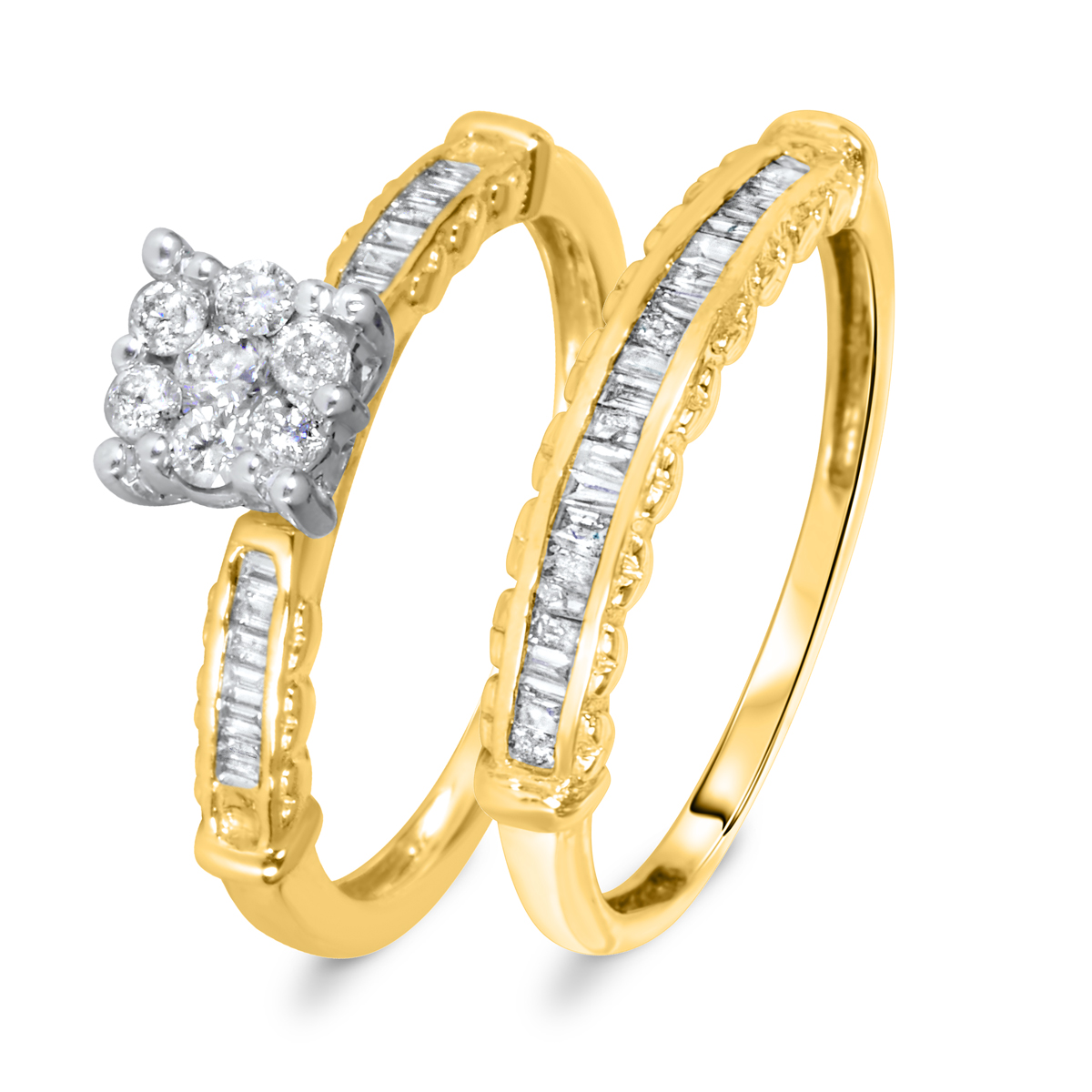 5/8 CT. T.W. Diamond Women's Bridal Wedding Ring Set 14K Yellow Gold