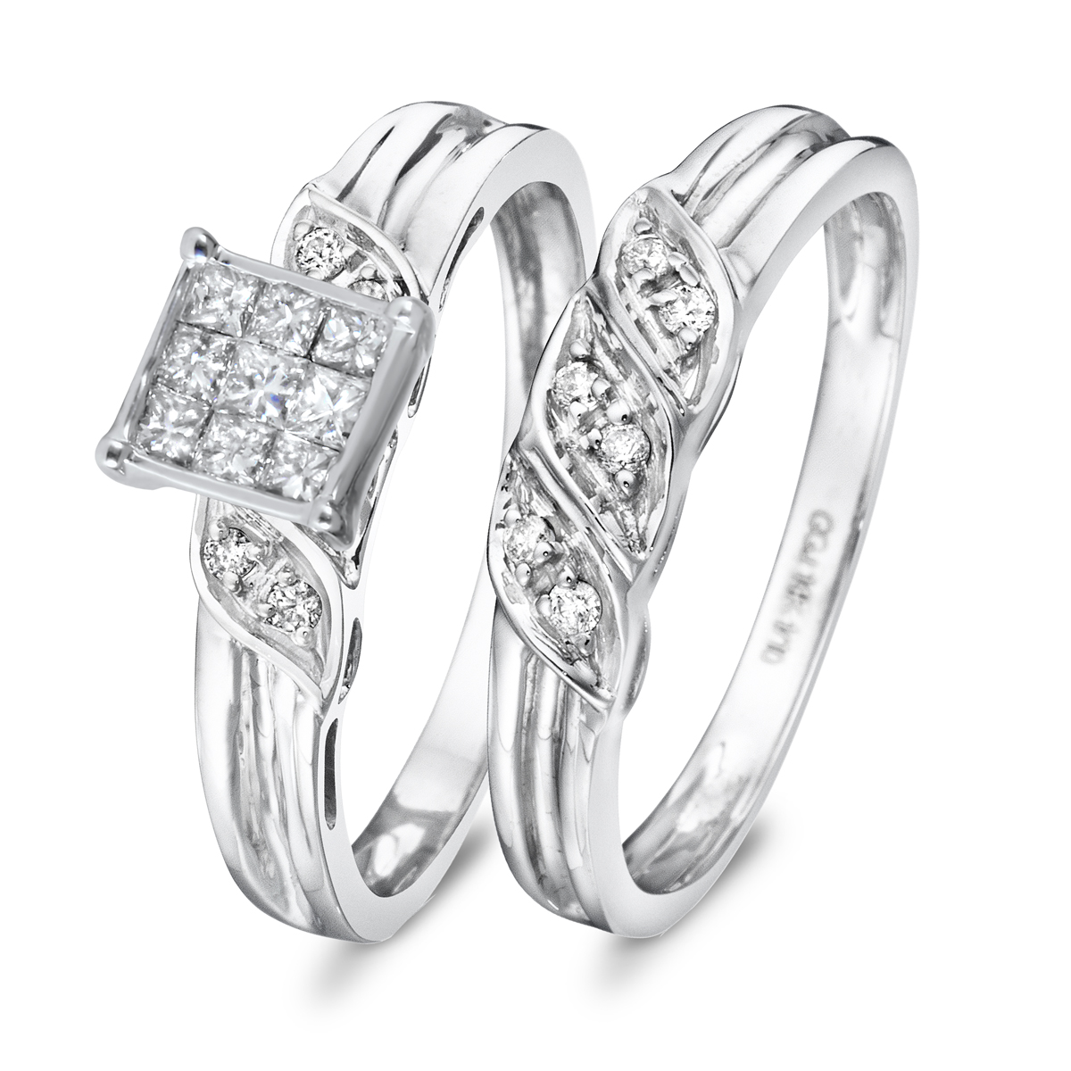 3/8 CT. T.W. Diamond Women's Bridal Wedding Ring Set 10K White Gold