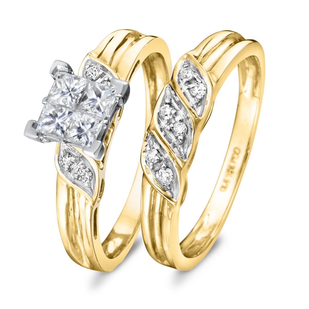 2/3 CT. T.W. Diamond Women's Bridal Wedding Ring Set 10K Yellow Gold
