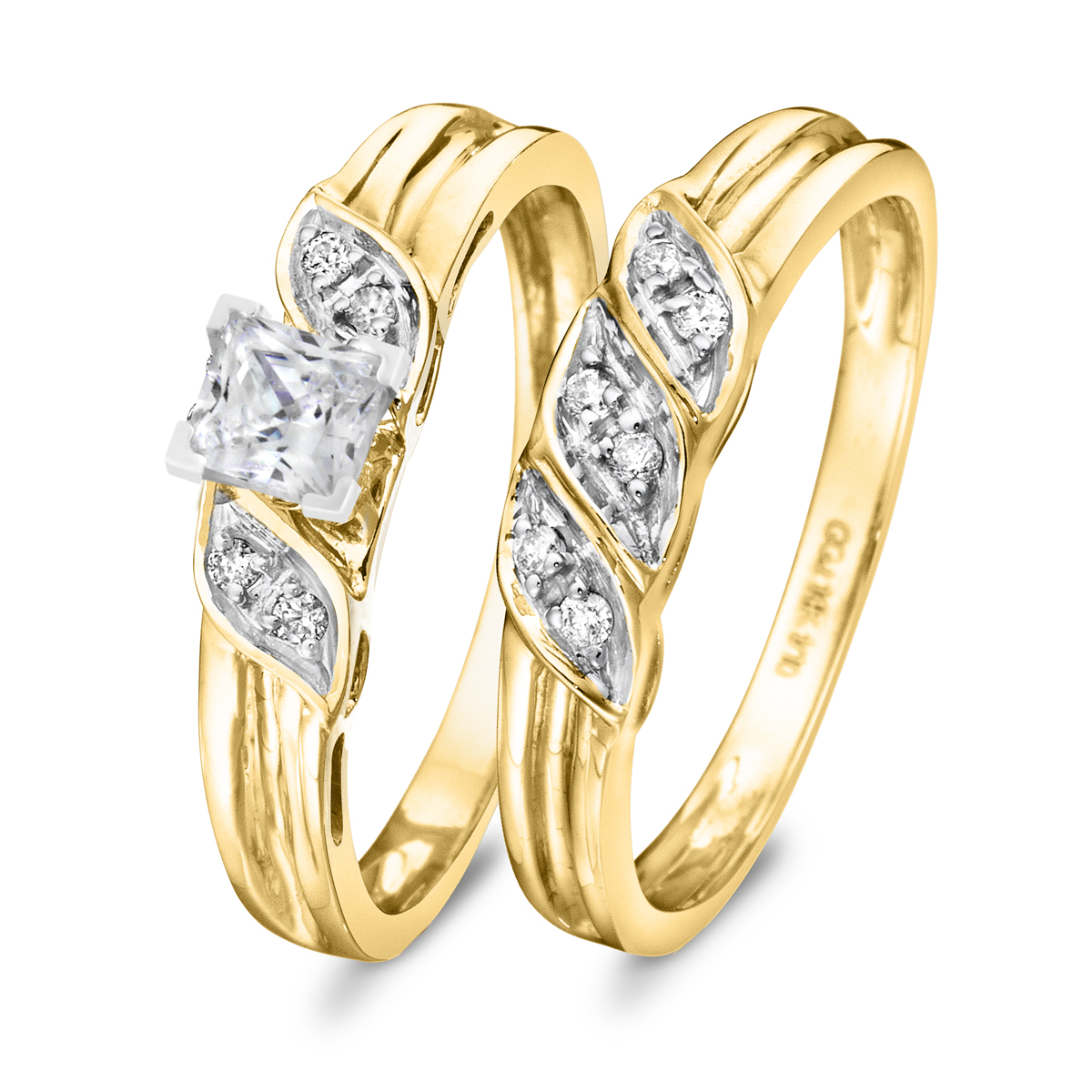 3/8 CT. T.W. Diamond Women's Bridal Wedding Ring Set 14K Yellow Gold