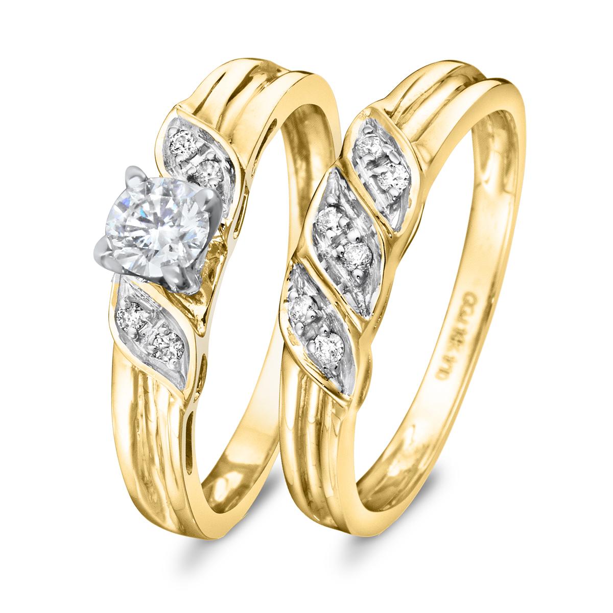 3/8 CT. T.W. Diamond Women's Bridal Wedding Ring Set 10K Yellow Gold