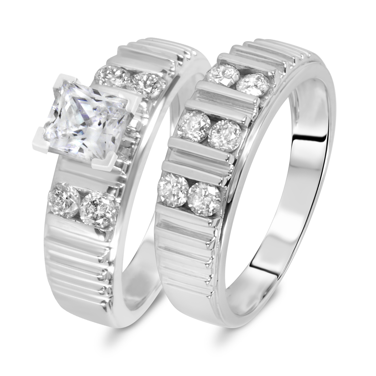 1 5/8 CT. T.W. Diamond Women's Bridal Wedding Ring Set 10K White Gold