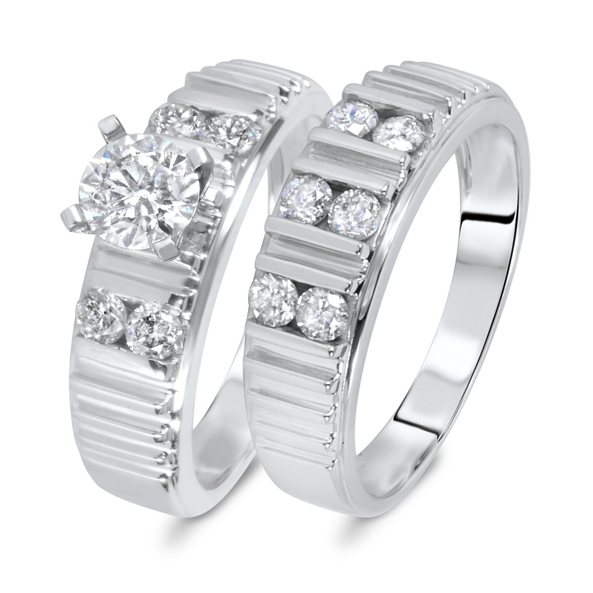 1 1/8 CT. T.W. Diamond Women's Bridal Wedding Ring Set 14K White Gold