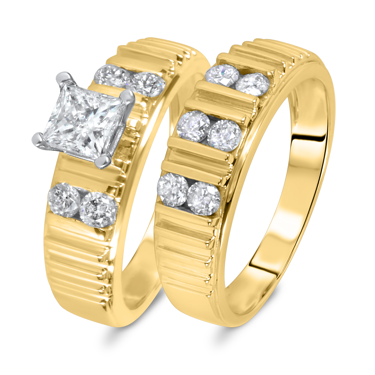 1 1/8 CT. T.W. Diamond Women's Bridal Wedding Ring Set 14K Yellow Gold