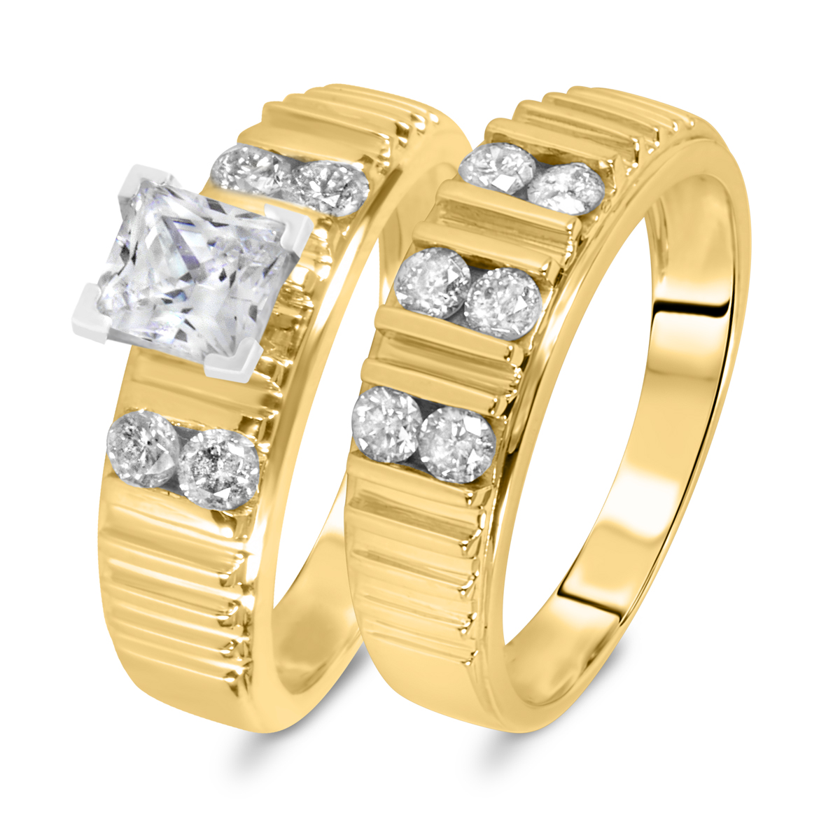 1 5/8 CT. T.W. Diamond Women's Bridal Wedding Ring Set 14K Yellow Gold