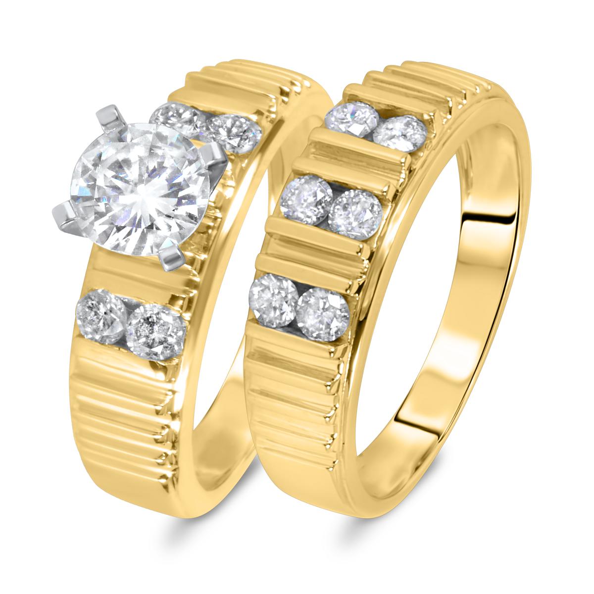 1 3/8 CT. T.W. Diamond Women's Bridal Wedding Ring Set 14K Yellow Gold