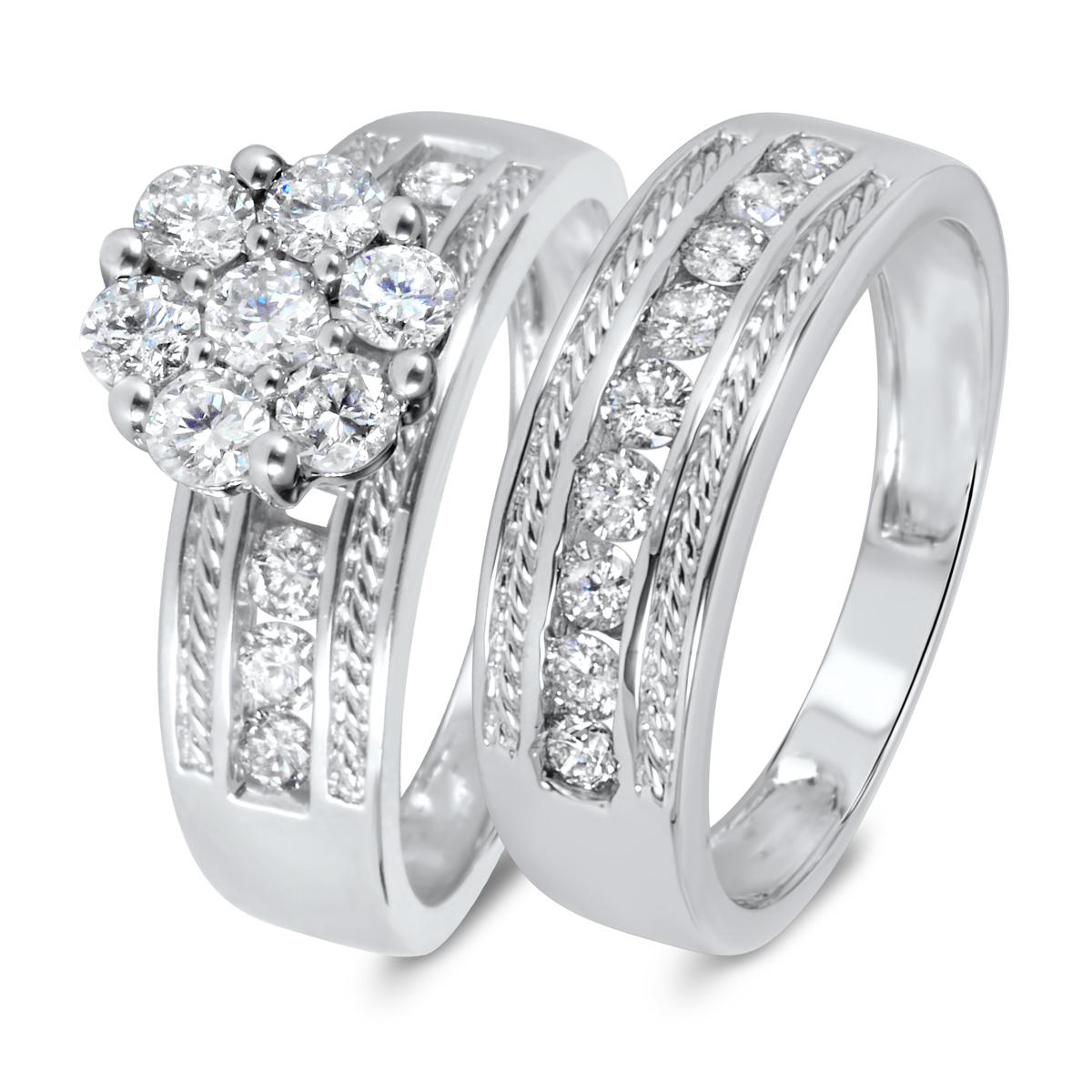 1 1/3 CT. T.W. Diamond Women's Bridal Wedding Ring Set 14K White Gold
