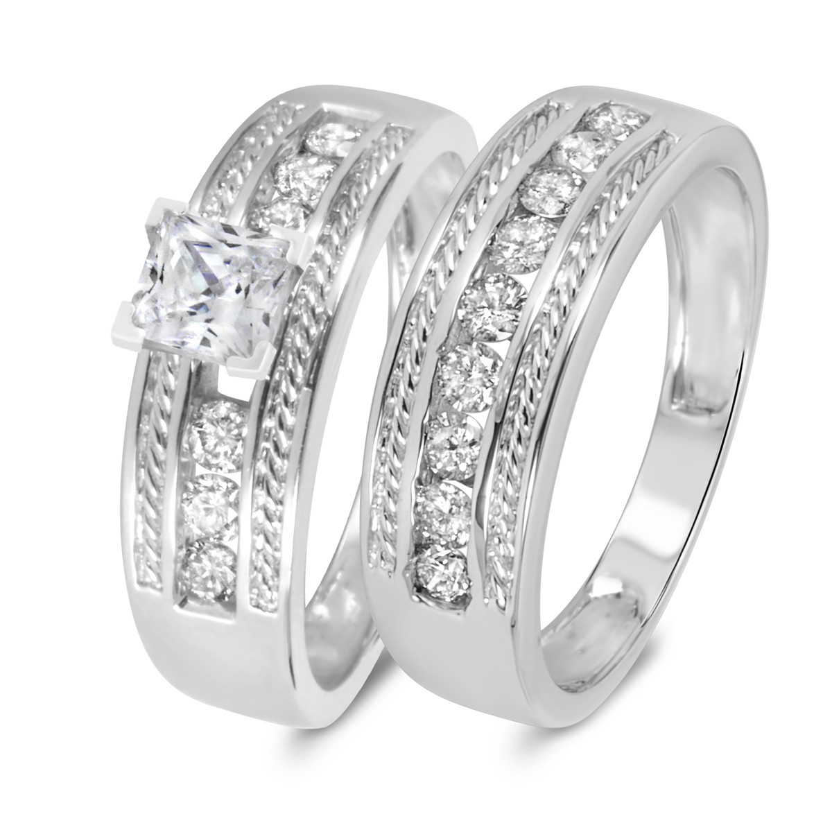 1 1/6 CT. T.W. Diamond Women's Bridal Wedding Ring Set 14K White Gold