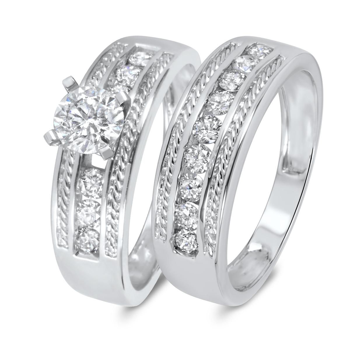 1 1/6 CT. T.W. Diamond Women's Bridal Wedding Ring Set 14K White Gold