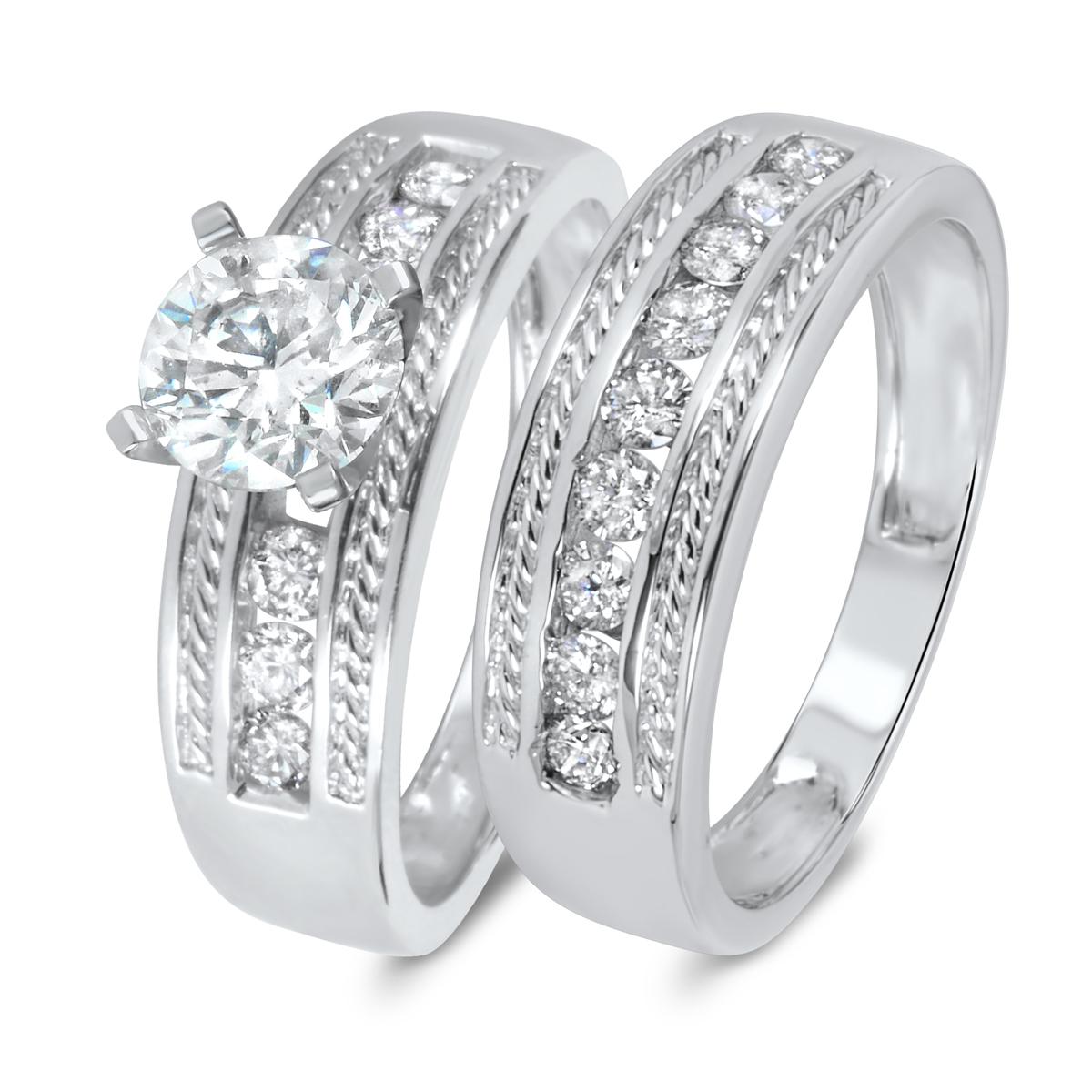 1 2/3 CT. T.W. Diamond Women's Bridal Wedding Ring Set 10K White Gold