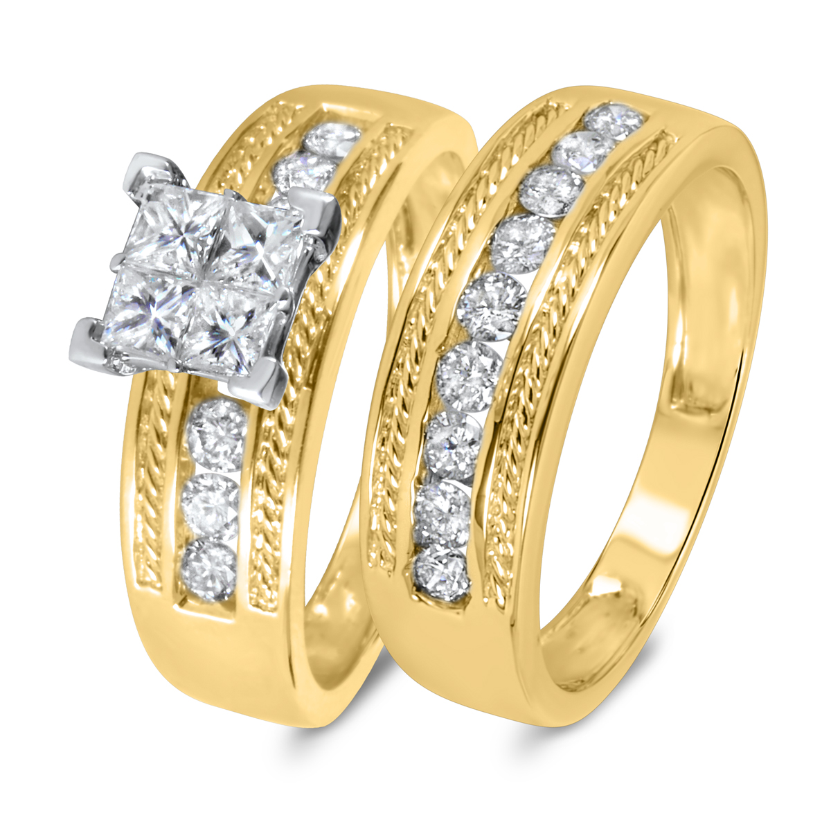 1 1/5 CT. T.W. Diamond Women's Bridal Wedding Ring Set 14K Yellow Gold