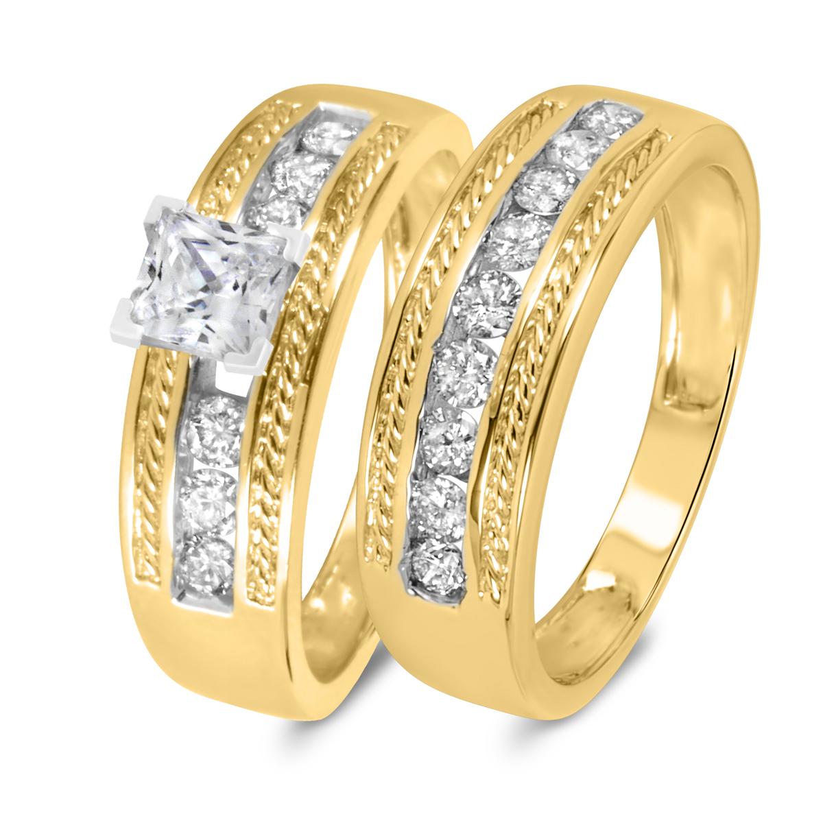 1 1/6 CT. T.W. Diamond Women's Bridal Wedding Ring Set 10K Yellow Gold