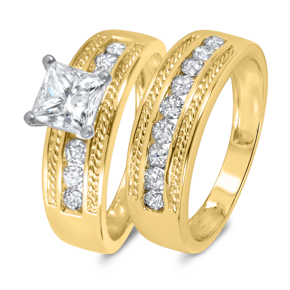1 2/3 CT. T.W. Diamond Women's Bridal Wedding Ring Set 14K Yellow Gold