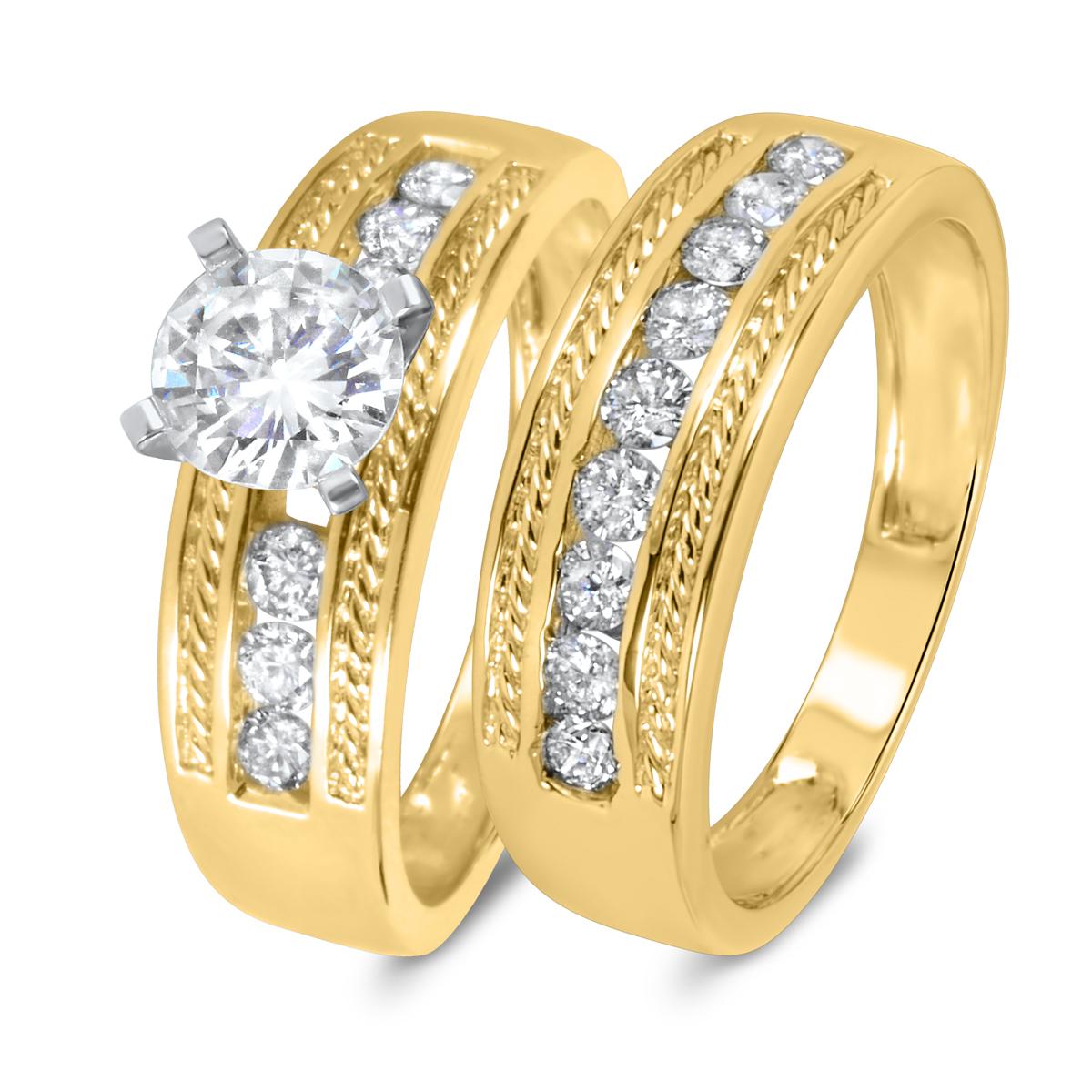 1 3/8 CT. T.W. Diamond Women's Bridal Wedding Ring Set 10K Yellow Gold