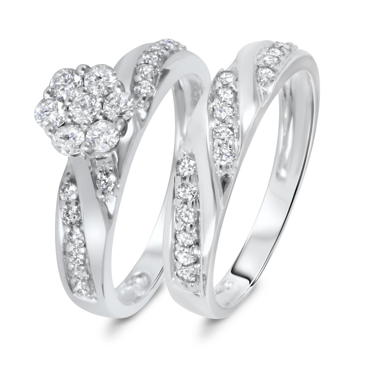 3/4 CT. T.W. Diamond Women's Bridal Wedding Ring Set 10K White Gold