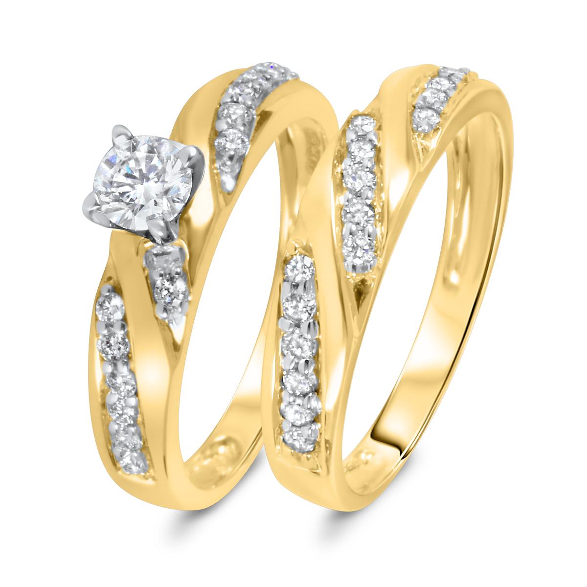 3/4 CT. T.W. Diamond Women's Bridal Wedding Ring Set 10K Yellow Gold