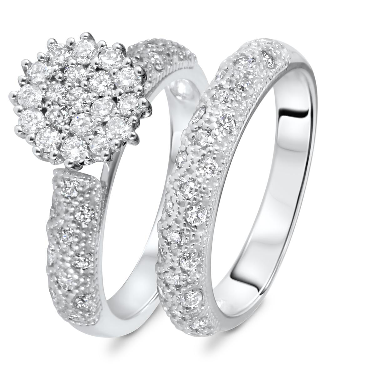 7/8 CT. T.W. Diamond Women's Bridal Wedding Ring Set 10K White Gold