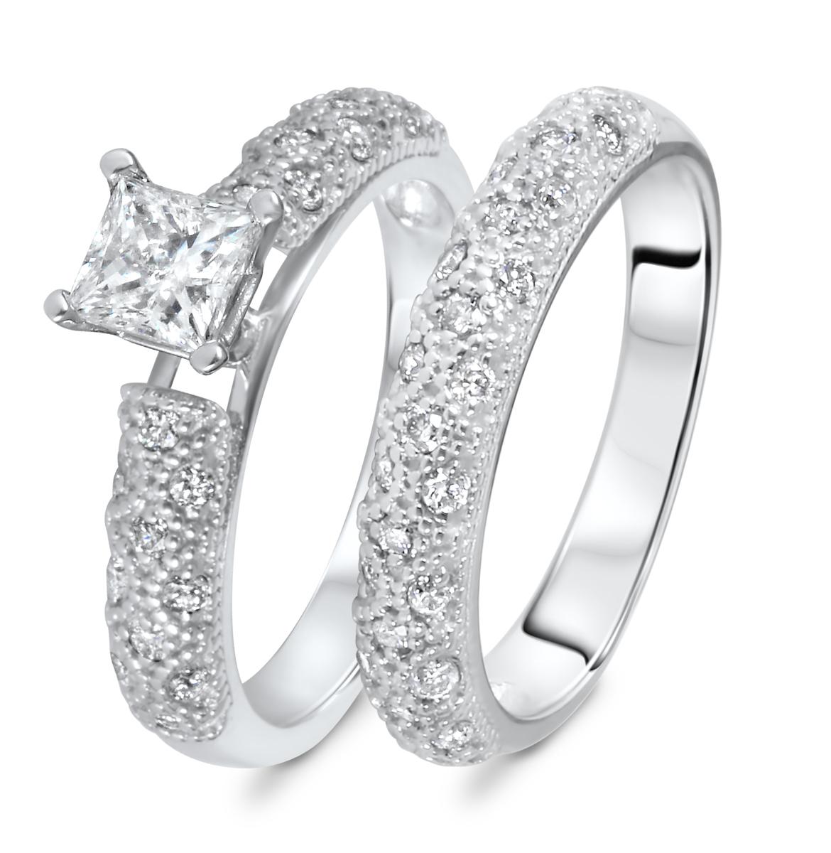 1 CT. T.W. Diamond Women's Bridal Wedding Ring Set 10K White Gold