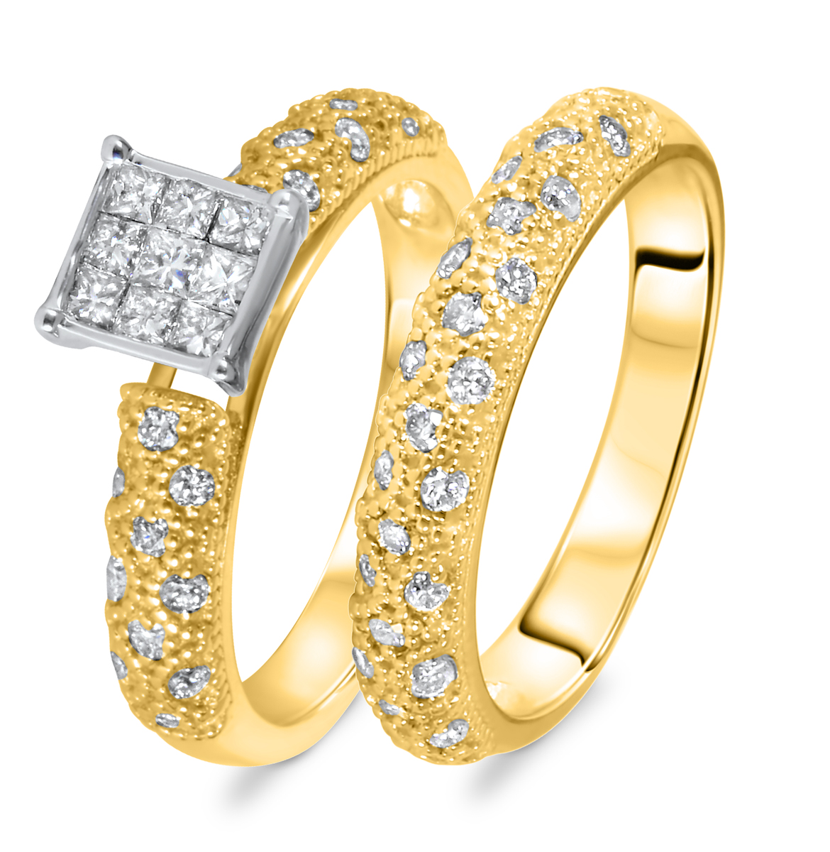 3/4 CT. T.W. Diamond Women's Bridal Wedding Ring Set 10K Yellow Gold