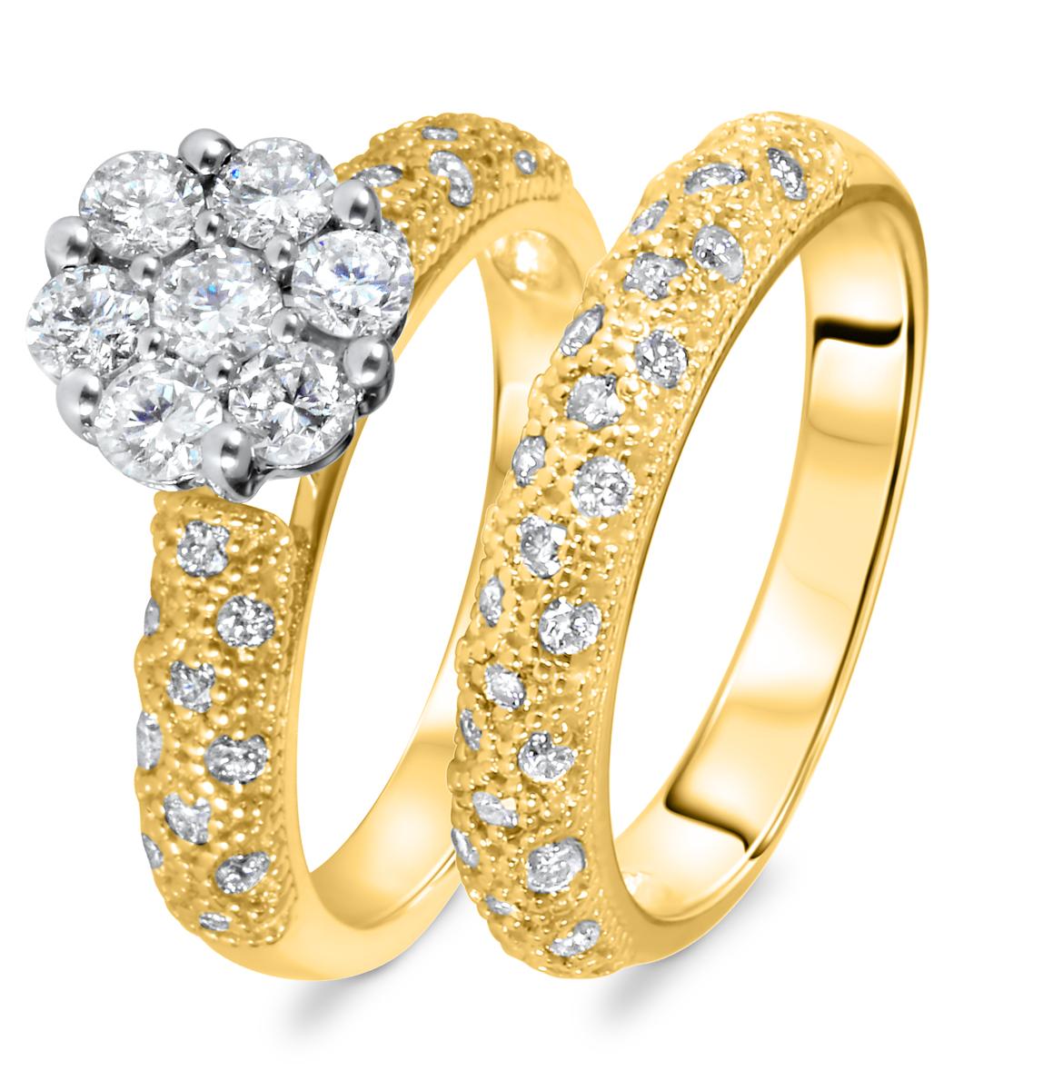 1 1/10 CT. T.W. Diamond Women's Bridal Wedding Ring Set 10K Yellow Gold